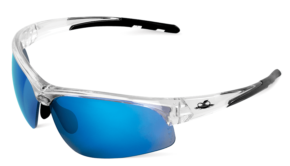 BH1612 - Wahoo® Blue Mirror Lens, Crystal Clear Frame Safety Glasses