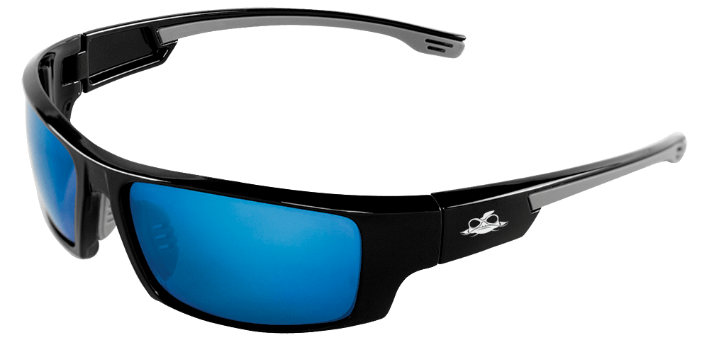 Dorado® Blue Mirror Performance Fog Technology Polarized Lens, Shiny Black Frame Safety Glasses - BH95129PFT